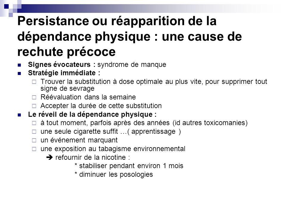 Persistance ou réapparition de la dépendance physique : une cause de rechute précoce Signes évocateurs : syndrome de manque Stratégie immédiate : Trou