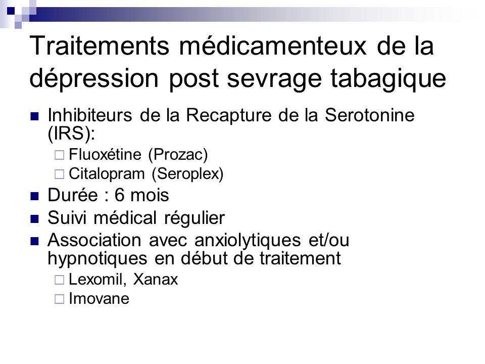 Traitements médicamenteux de la dépression post sevrage tabagique Inhibiteurs de la Recapture de la Serotonine (IRS): Fluoxétine (Prozac) Citalopram (