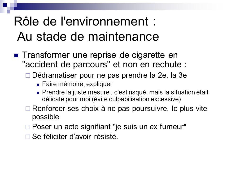 Rôle de l'environnement : Au stade de maintenance Transformer une reprise de cigarette en