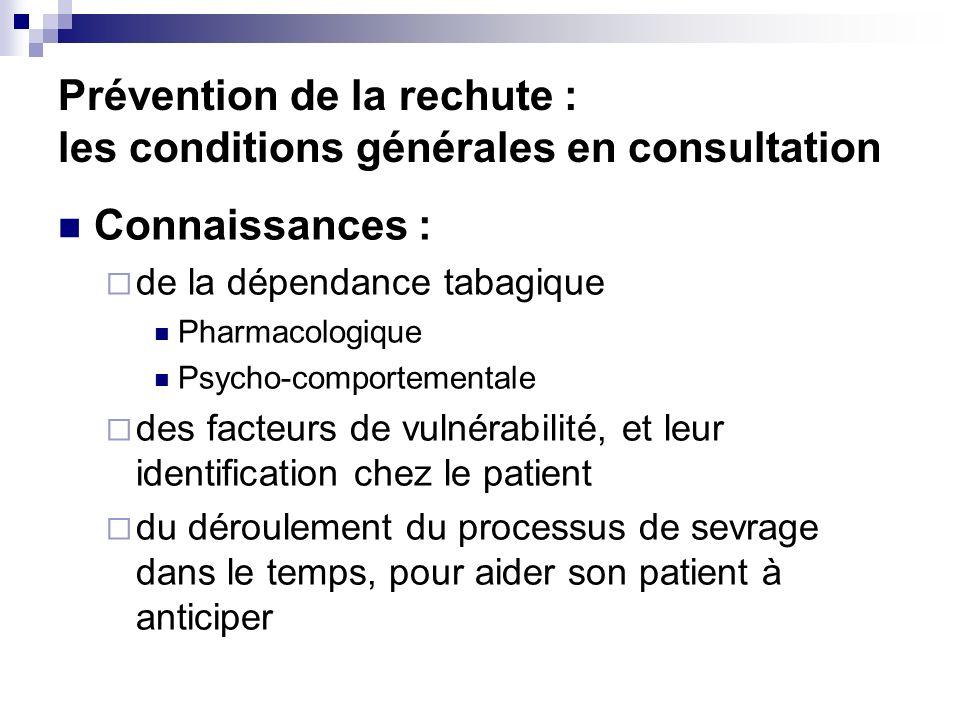 Prévention de la rechute : les conditions générales en consultation Connaissances : de la dépendance tabagique Pharmacologique Psycho-comportementale