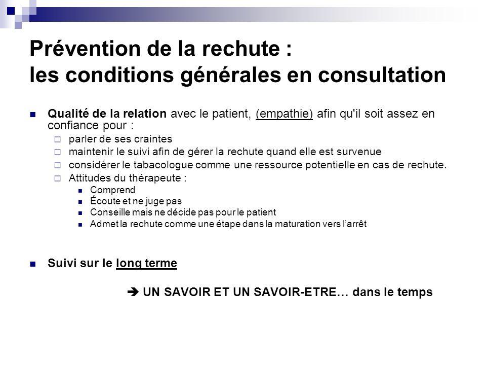 Prévention de la rechute : les conditions générales en consultation Qualité de la relation avec le patient, (empathie) afin qu'il soit assez en confia