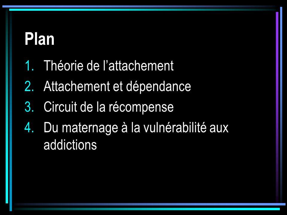 Plan 1.Théorie de lattachement 2.Attachement et dépendance 3.Circuit de la récompense 4.Du maternage à la vulnérabilité aux addictions