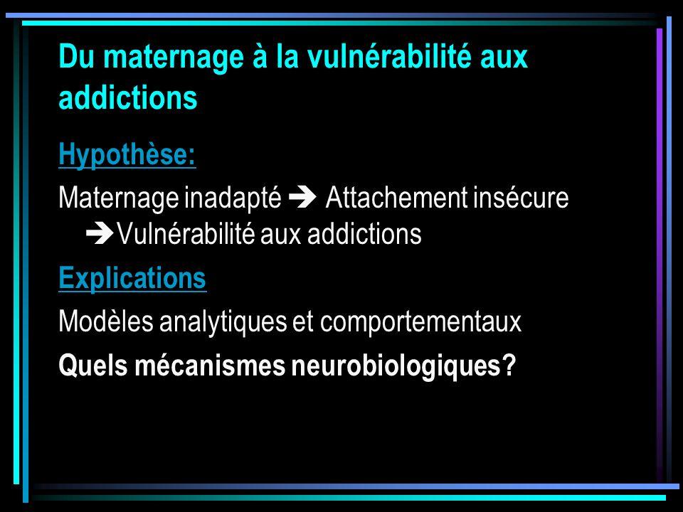 Du maternage à la vulnérabilité aux addictions Hypothèse: Maternage inadapté Attachement insécure Vulnérabilité aux addictions Explications Modèles an