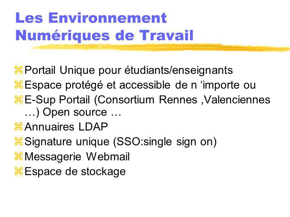 Les Environnement Numériques de Travail zPortail Unique pour étudiants/enseignants zEspace protégé et accessible de n importe ou zE-Sup Portail (Conso