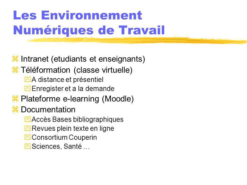 Les Environnement Numériques de Travail zIntranet (etudiants et enseignants) zTéléformation (classe virtuelle) yA distance et présentiel yEnregister e