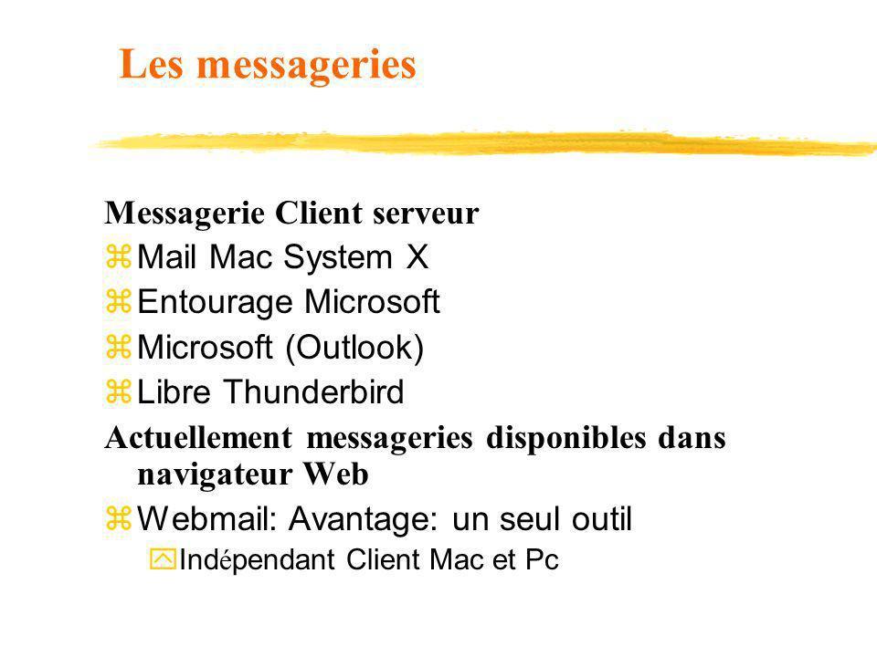 Les messageries Messagerie Client serveur z Mail Mac System X z Entourage Microsoft z Microsoft (Outlook) z Libre Thunderbird Actuellement messageries