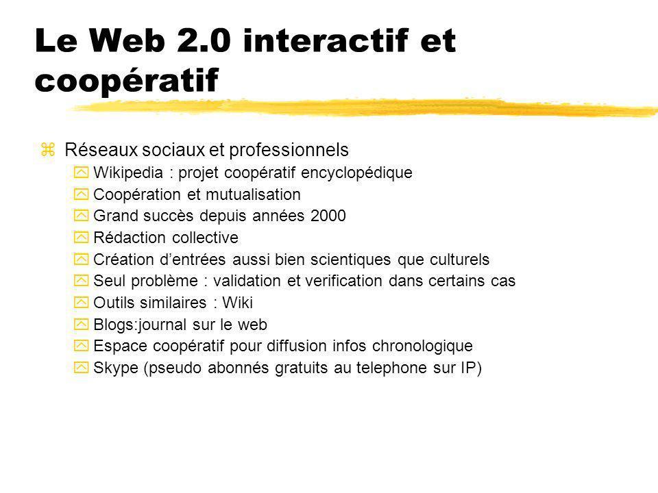 Le Web 2.0 interactif et coopératif zRéseaux sociaux et professionnels yWikipedia : projet coopératif encyclopédique yCoopération et mutualisation yGr
