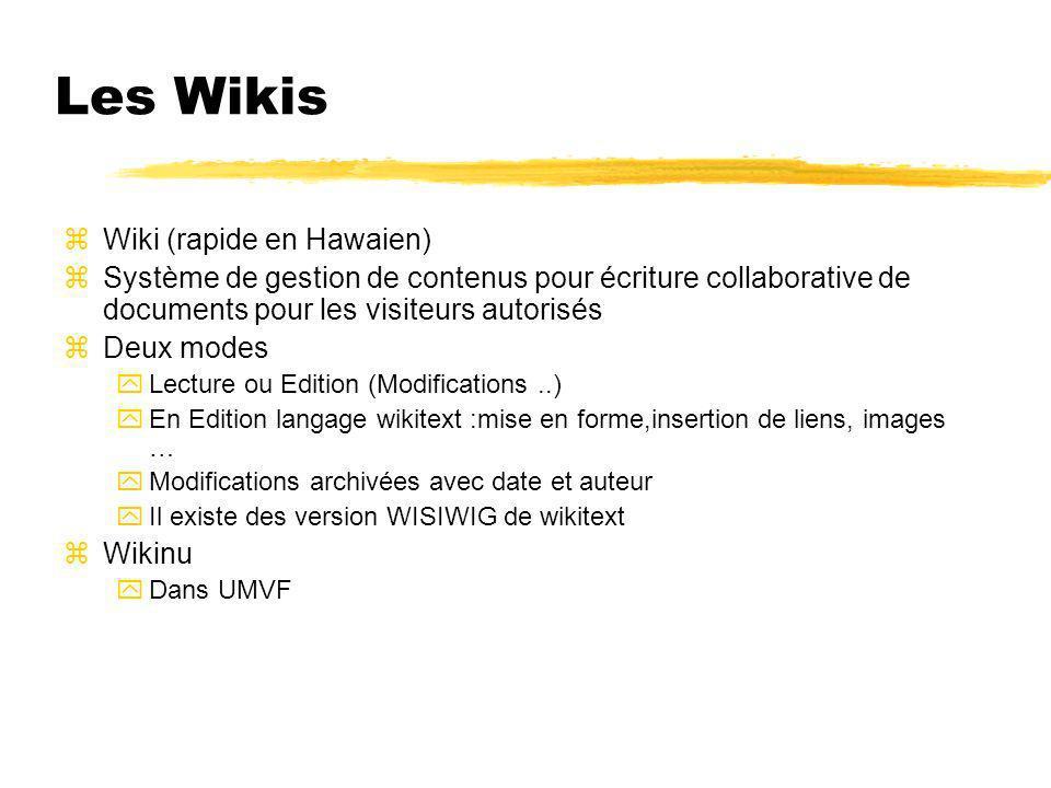 Les Wikis zWiki (rapide en Hawaien) zSystème de gestion de contenus pour écriture collaborative de documents pour les visiteurs autorisés zDeux modes