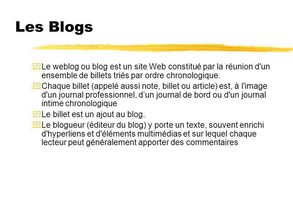 Les Blogs yLe weblog ou blog est un site Web constitué par la réunion d'un ensemble de billets triés par ordre chronologique. yChaque billet (appelé a