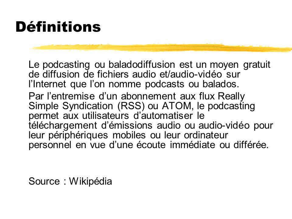 Définitions Le podcasting ou baladodiffusion est un moyen gratuit de diffusion de fichiers audio et/audio-vidéo sur lInternet que lon nomme podcasts o