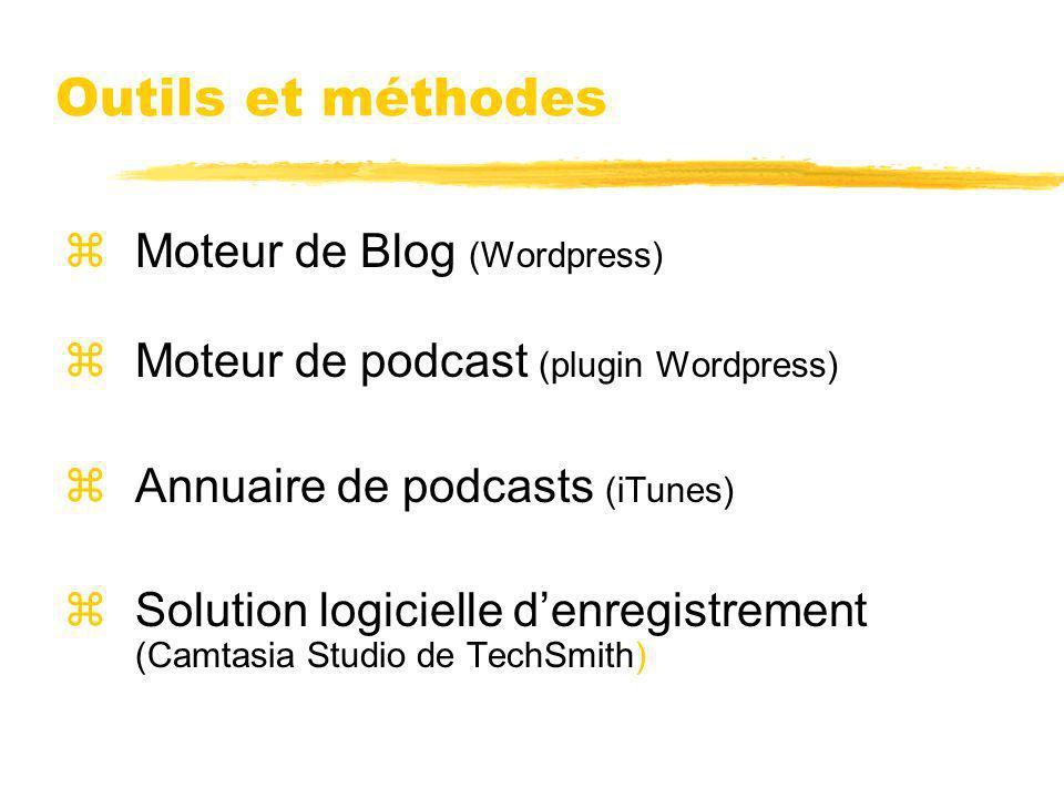 Outils et méthodes zMoteur de Blog (Wordpress) zMoteur de podcast (plugin Wordpress) zAnnuaire de podcasts (iTunes) zSolution logicielle denregistreme