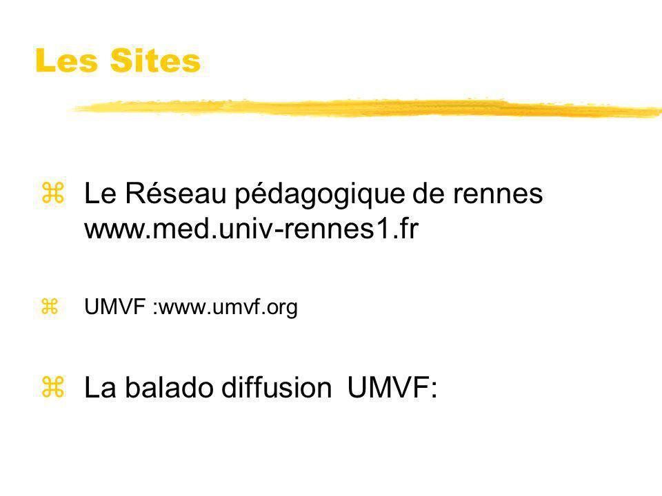 Les Sites zLe Réseau pédagogique de rennes www.med.univ-rennes1.fr zUMVF :www.umvf.org zLa balado diffusion UMVF: