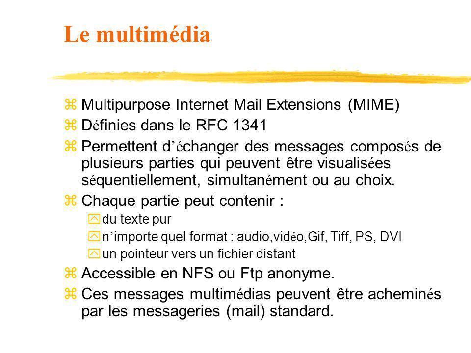 Le multimédia z Multipurpose Internet Mail Extensions (MIME) z D é finies dans le RFC 1341 z Permettent d é changer des messages compos é s de plusieu