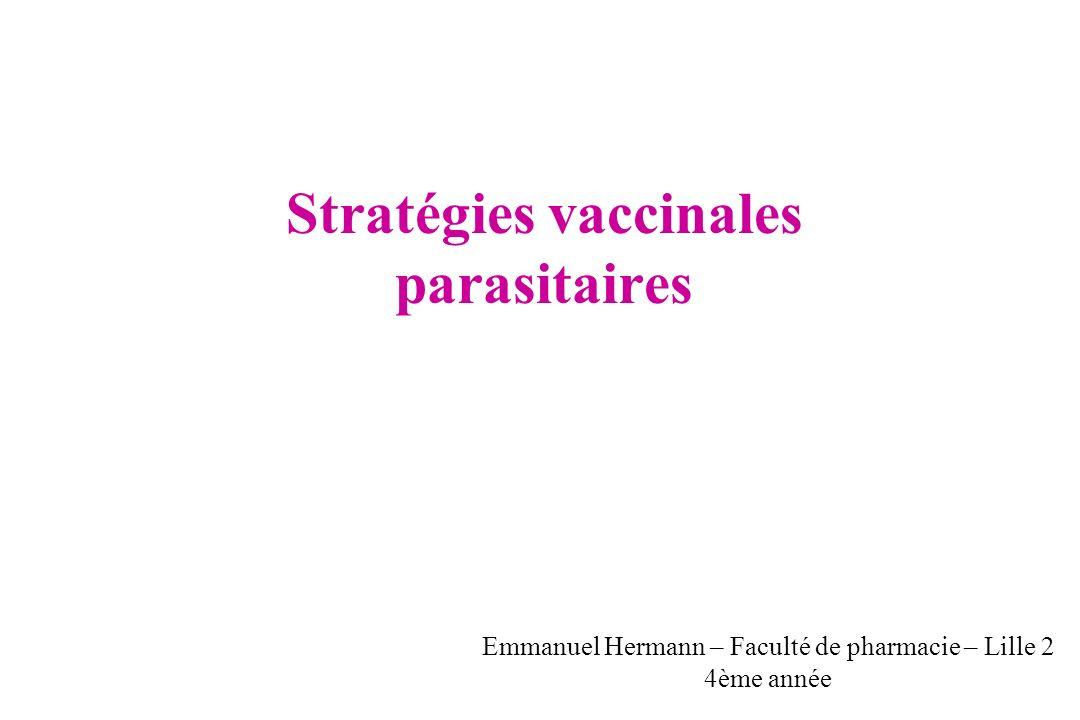 Vaccin anti - transmission But de la vaccination - Empêcher la transmission Population cible - Toute la communauté dans zones isolées à faible transmission - Eradication ( « Vaccin altruiste ») - en combinaison avec les autres vaccins - Pour toutes les populations avant les saisons de haute transmission Stade moustique Oocystes Gamétocytes dans lintestin du moustique Oocinète Zygote Gamètes - Contre les gamètes : protéines Pfs2303 et Pfs48/85 Type de vaccins utilisés - Contre les oocinètes : P25 et P28