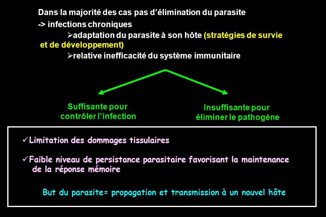 Pas de vaccins anti-parasitaires efficaces -Difficulté lié à la variabilité et au polymorphisme (P.f, Trypanosoma brucei) - Difficulté lié à linduction de mémoire à long terme (P.f., Leishmanioses) - Identification dantigènes cibles spécifiques dun stade parasitaire - Identification dadjuvants efficaces ESPOIR POUR DE NOUVELLES CIBLES ANTIGENIQUES Combinés à de nouveaux adjuvants + protocoles vaccinaux Mais ……………….