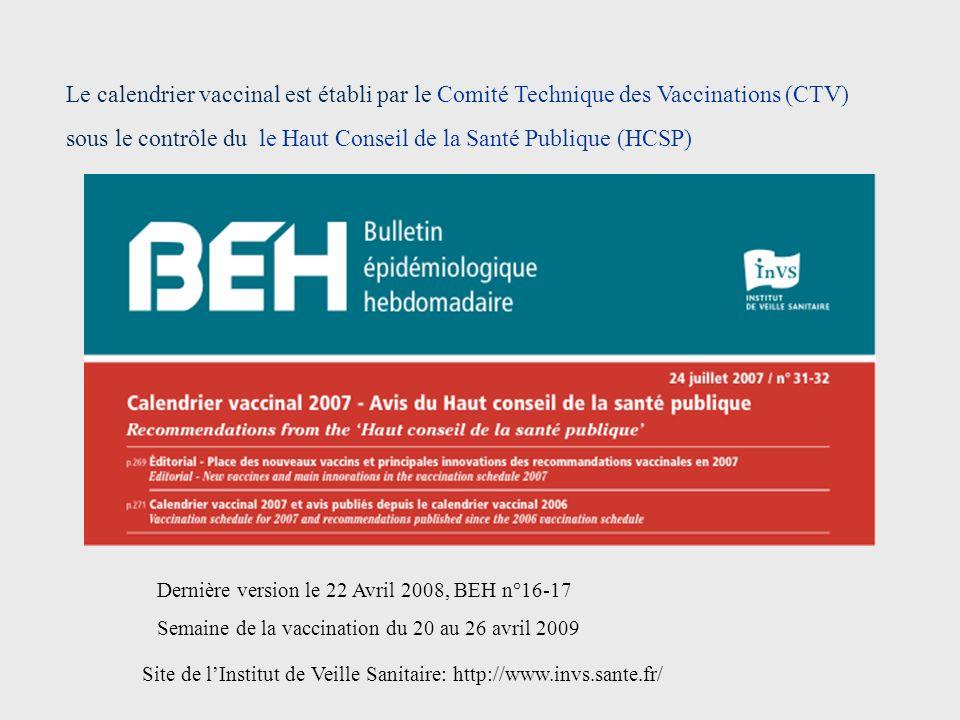 Le calendrier vaccinal est établi par le Comité Technique des Vaccinations (CTV) sous le contrôle du le Haut Conseil de la Santé Publique (HCSP) Site