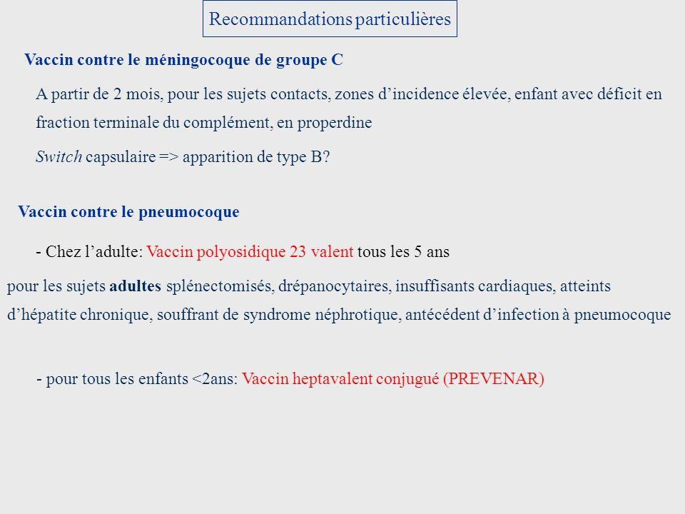 Recommandations particulières Vaccin contre le méningocoque de groupe C A partir de 2 mois, pour les sujets contacts, zones dincidence élevée, enfant