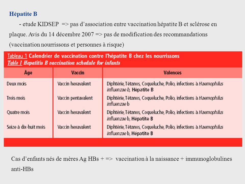 Hépatite B - etude KIDSEP => pas dassociation entre vaccination hépatite B et sclérose en plaque. Avis du 14 décembre 2007 => pas de modification des