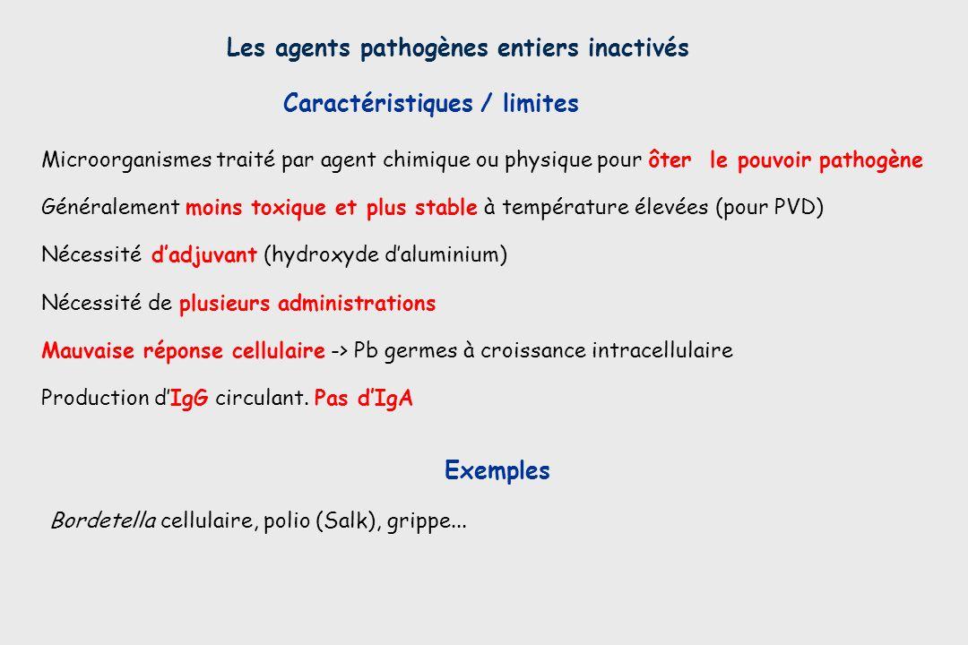 Microorganismes traité par agent chimique ou physique pour ôter le pouvoir pathogène Généralement moins toxique et plus stable à température élevées (