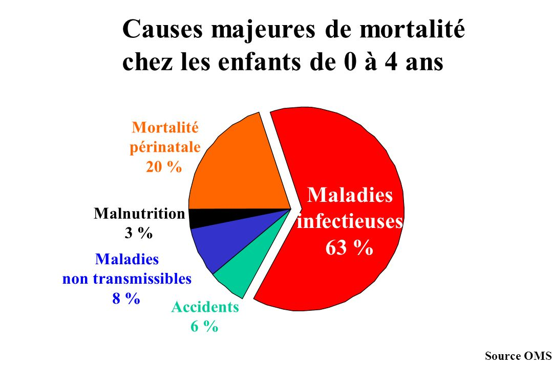 Causes majeures de mortalité chez les enfants de 0 à 4 ans Maladies infectieuses 63 % Accidents 6 % Maladies non transmissibles 8 % Malnutrition 3 % Mortalité périnatale 20 % Source OMS