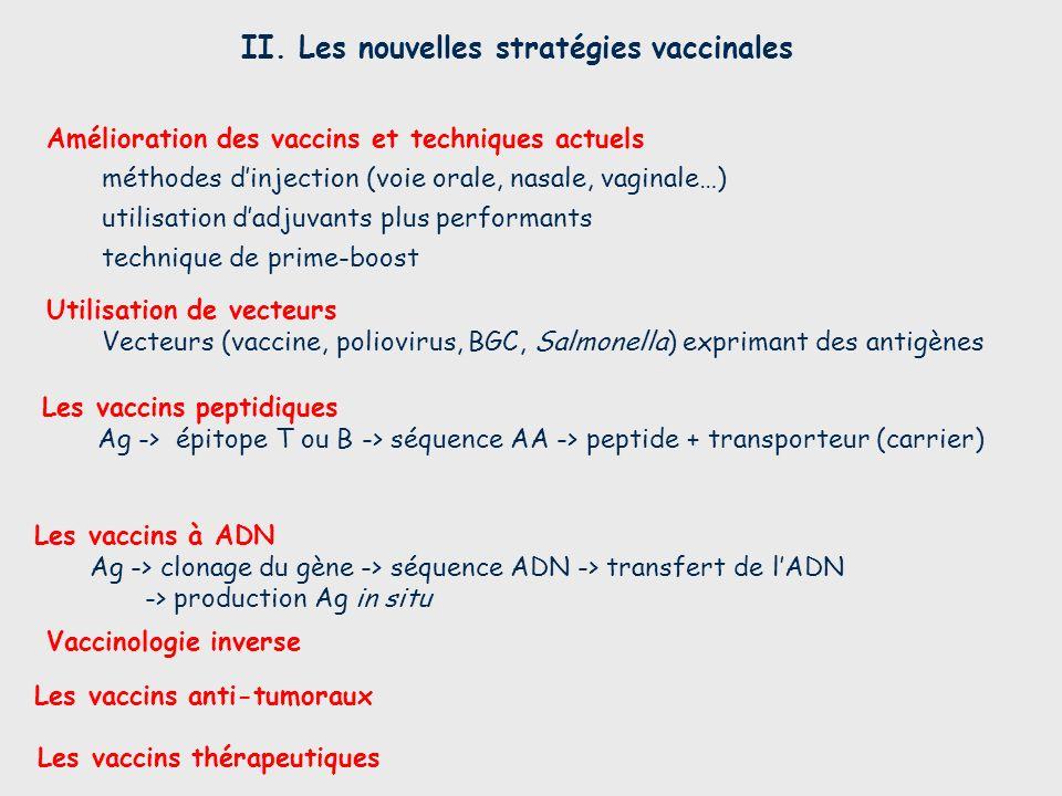 II. Les nouvelles stratégies vaccinales Les vaccins thérapeutiques Les vaccins à ADN Ag -> clonage du gène -> séquence ADN -> transfert de lADN -> pro
