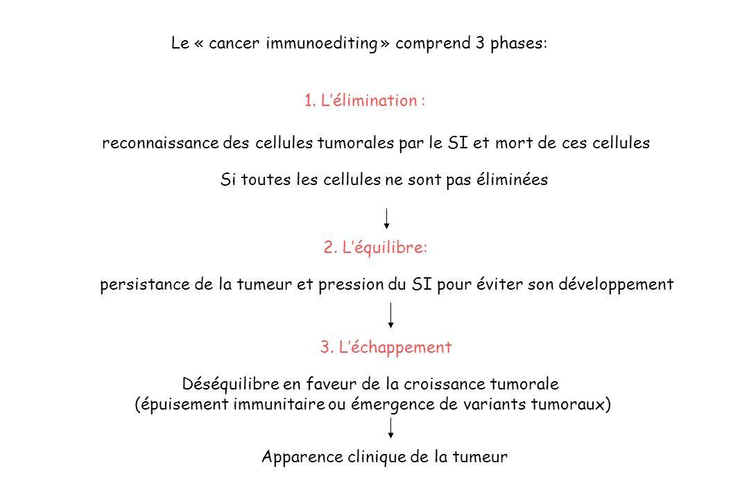 Le « cancer immunoediting » comprend 3 phases: reconnaissance des cellules tumorales par le SI et mort de ces cellules persistance de la tumeur et pre