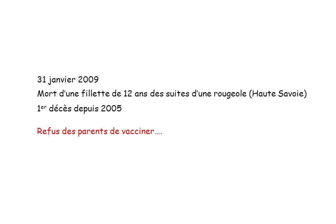 31 janvier 2009 Mort dune fillette de 12 ans des suites dune rougeole (Haute Savoie) 1 er décès depuis 2005 Refus des parents de vacciner….