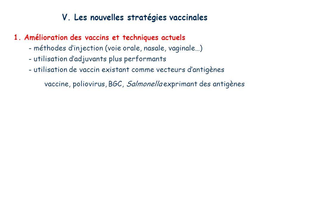 V. Les nouvelles stratégies vaccinales 1. Amélioration des vaccins et techniques actuels - méthodes dinjection (voie orale, nasale, vaginale…) - utili