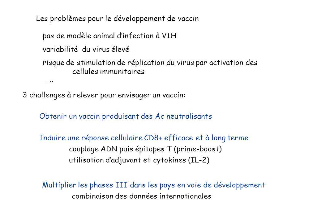 Obtenir un vaccin produisant des Ac neutralisants Induire une réponse cellulaire CD8+ efficace et à long terme couplage ADN puis épitopes T (prime-boo