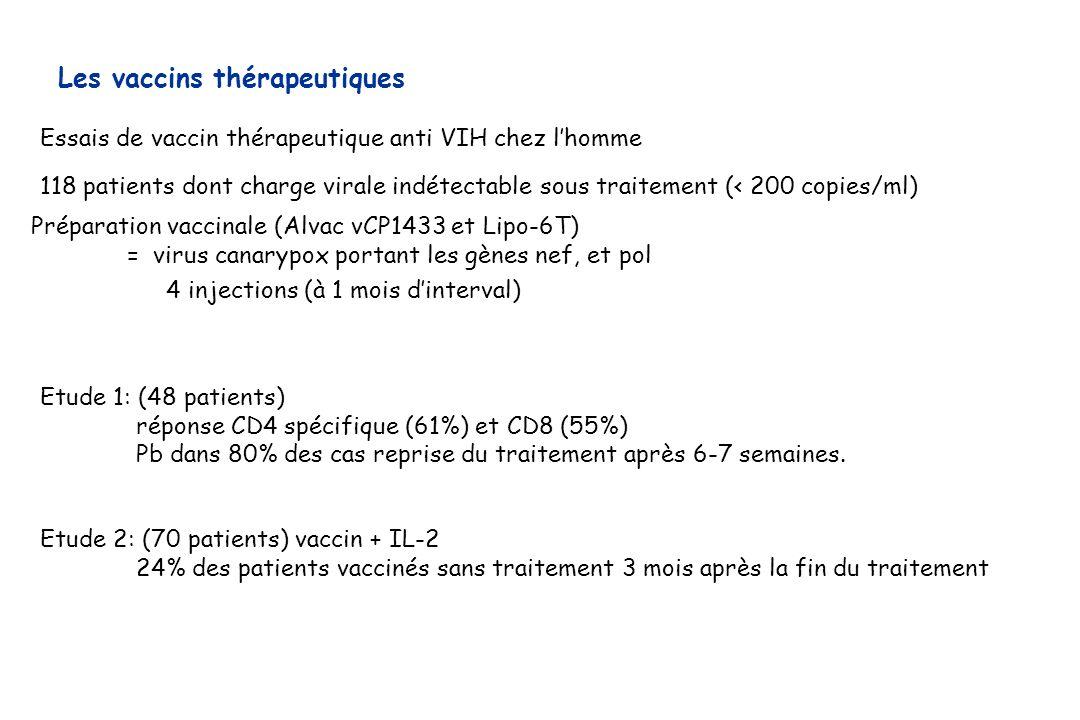 Préparation vaccinale (Alvac vCP1433 et Lipo-6T) = virus canarypox portant les gènes nef, et pol Essais de vaccin thérapeutique anti VIH chez lhomme 1