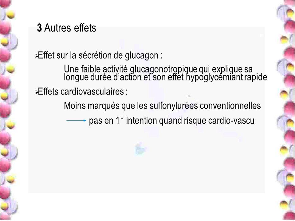 3 Autres effets Effet sur la sécrétion de glucagon : Une faible activité glucagonotropique qui explique sa longue durée daction et son effet hypoglycé