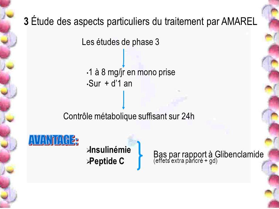 3 Étude des aspects particuliers du traitement par AMAREL Les études de phase 3 1 à 8 mg/jr en mono prise Sur + d1 an Contrôle métabolique suffisant s