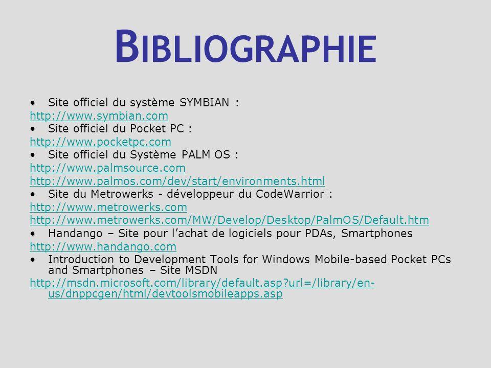 B IBLIOGRAPHIE Site officiel du système SYMBIAN : http://www.symbian.com Site officiel du Pocket PC : http://www.pocketpc.com Site officiel du Système
