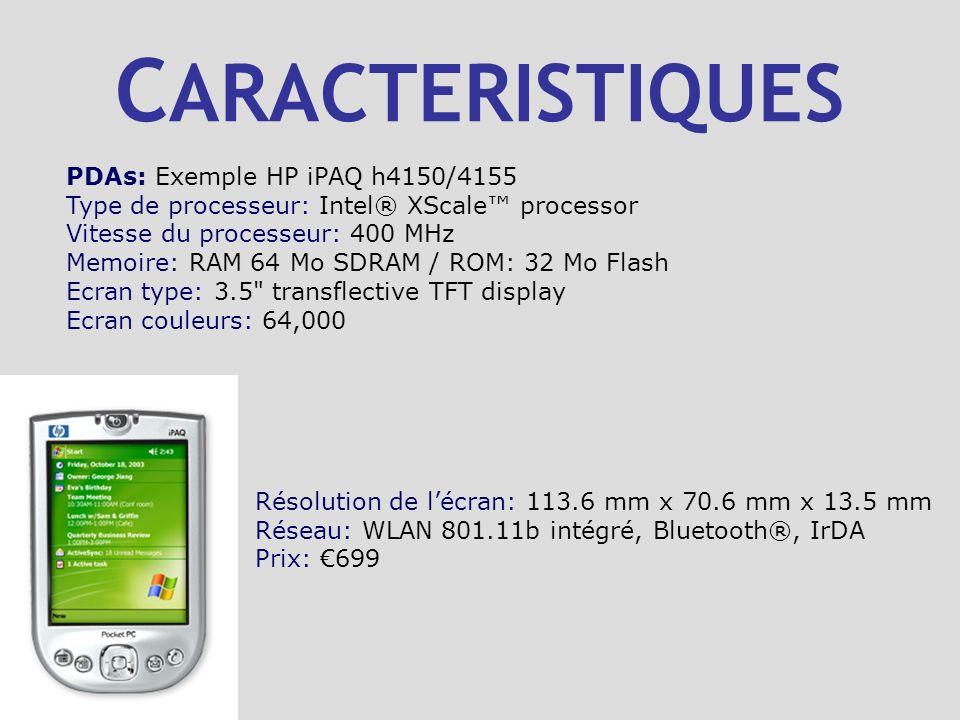 C ARACTERISTIQUES PDAs: Exemple HP iPAQ h4150/4155 Type de processeur: Intel® XScale processor Vitesse du processeur: 400 MHz Memoire: RAM 64 Mo SDRAM