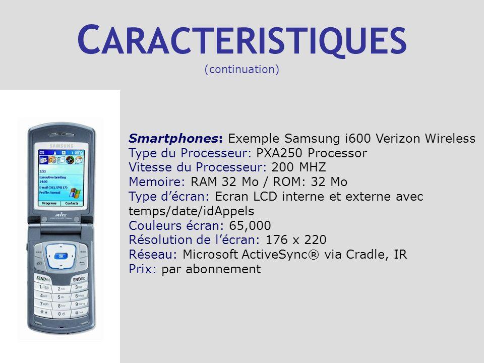 C ARACTERISTIQUES (continuation) Smartphones: Exemple Samsung i600 Verizon Wireless Type du Processeur: PXA250 Processor Vitesse du Processeur: 200 MH
