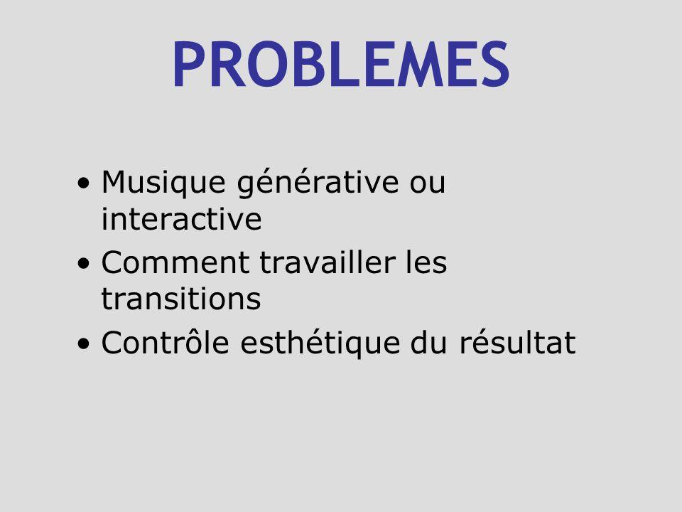 PROBLEMES Musique générative ou interactive Comment travailler les transitions Contrôle esthétique du résultat