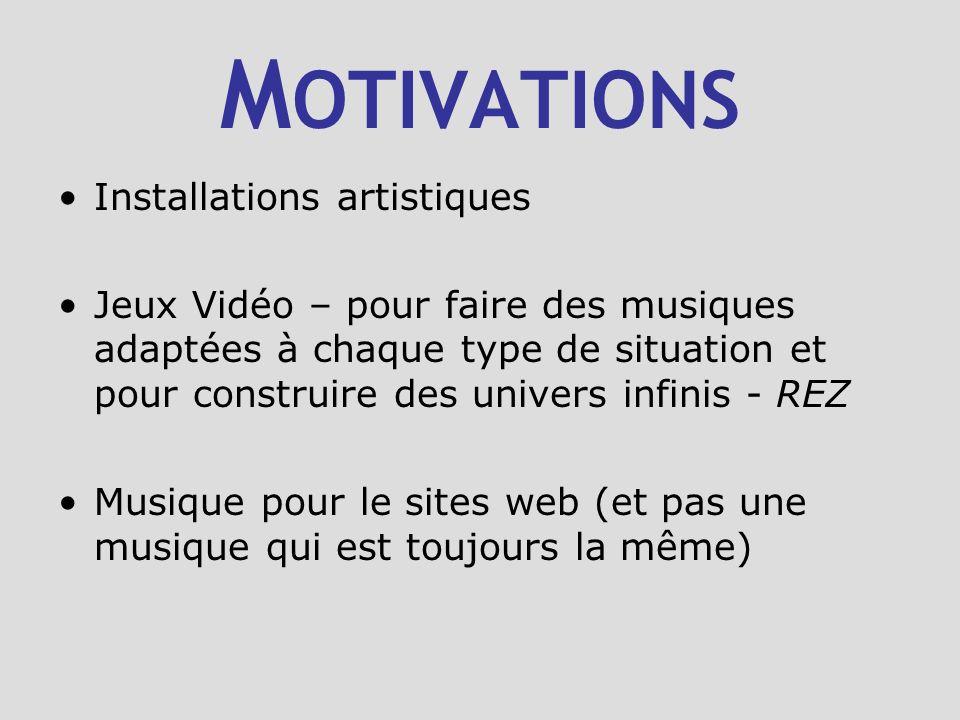 M OTIVATIONS Installations artistiques Jeux Vidéo – pour faire des musiques adaptées à chaque type de situation et pour construire des univers infinis - REZ Musique pour le sites web (et pas une musique qui est toujours la même)