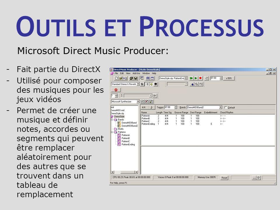 O UTILS ET P ROCESSUS -Fait partie du DirectX -Utilisé pour composer des musiques pour les jeux vidéos -Permet de créer une musique et définir notes, accordes ou segments qui peuvent être remplacer aléatoirement pour des autres que se trouvent dans un tableau de remplacement Microsoft Direct Music Producer: