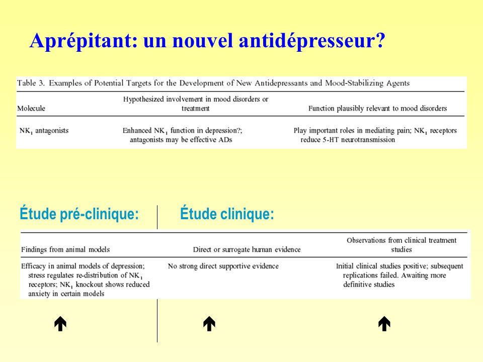 Aprépitant: un nouvel antidépresseur? Étude pré-clinique: Étude clinique:
