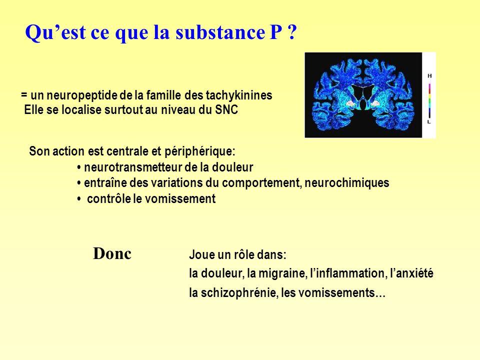Quest ce que la substance P ? = un neuropeptide de la famille des tachykinines Elle se localise surtout au niveau du SNC Son action est centrale et pé
