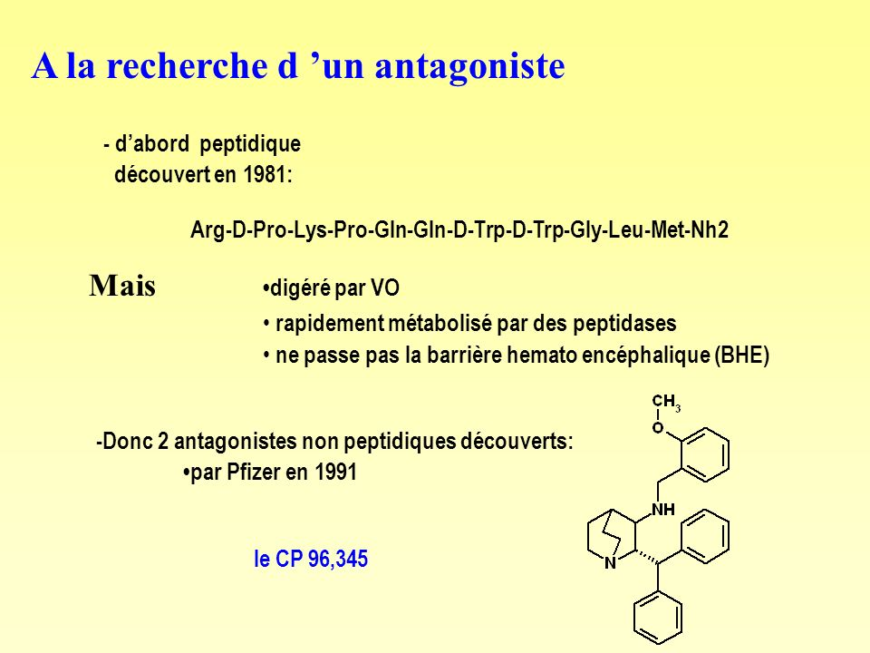 A la recherche d un antagoniste - dabord peptidique découvert en 1981: Arg-D-Pro-Lys-Pro-Gln-Gln-D-Trp-D-Trp-Gly-Leu-Met-Nh2 Mais digéré par VO rapidement métabolisé par des peptidases ne passe pas la barrière hemato encéphalique (BHE) -Donc 2 antagonistes non peptidiques découverts: par Pfizer en 1991 le CP 96,345