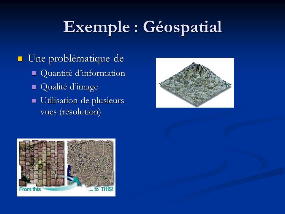 Exemple : Géospatial Une problématique de Une problématique de Quantité dinformation Quantité dinformation Qualité dimage Qualité dimage Utilisation de plusieurs vues (résolution) Utilisation de plusieurs vues (résolution)