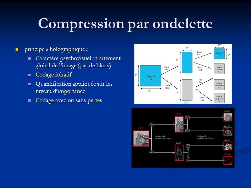 Décompression Conséquence du codage itératif : 2 modes de décompression : Conséquence du codage itératif : 2 modes de décompression : En résolution En résolution En netteté (ex progressive JPEG) En netteté (ex progressive JPEG) Possibilité de zoom/crop intégrées Possibilité de zoom/crop intégrées Adaptation à la QoS Adaptation à la QoS
