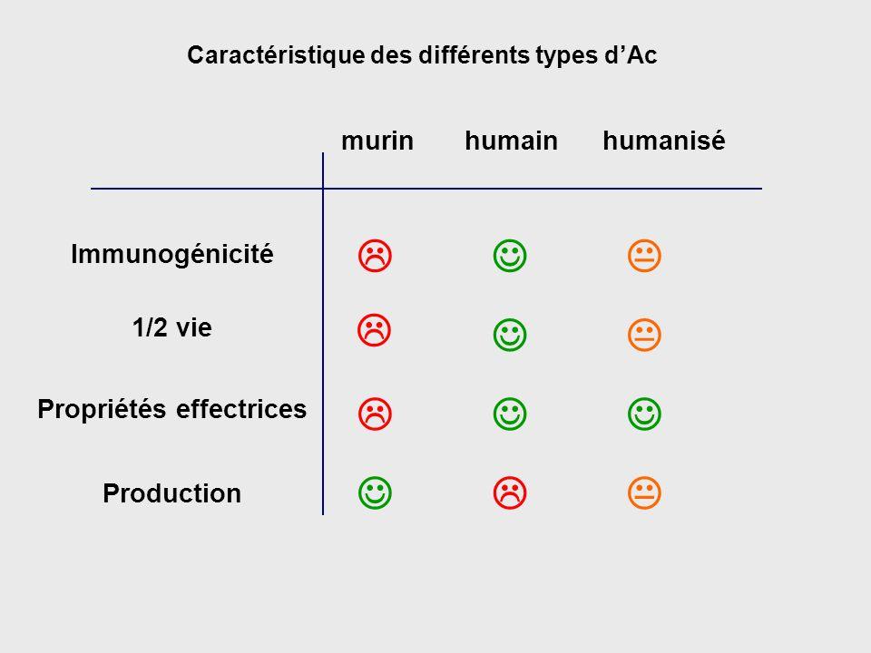 Caractéristique des différents types dAc murinhumainhumanisé Immunogénicité 1/2 vie Propriétés effectrices Production