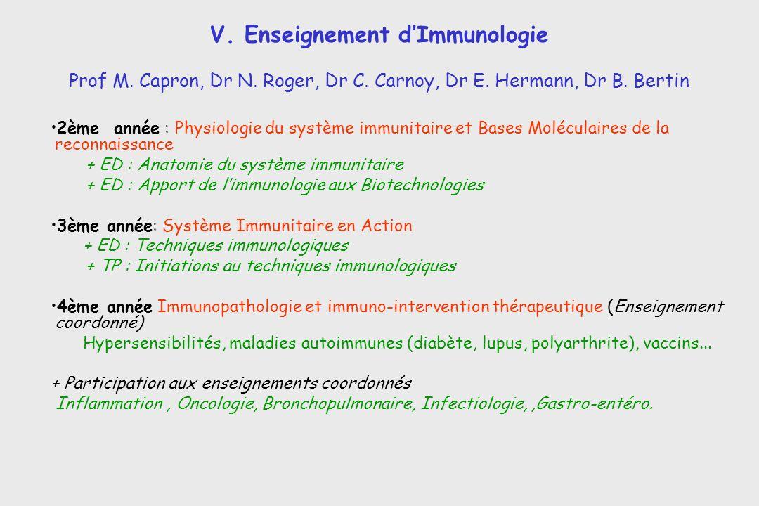 V. Enseignement dImmunologie 2ème année : Physiologie du système immunitaire et Bases Moléculaires de la reconnaissance + ED : Anatomie du système imm