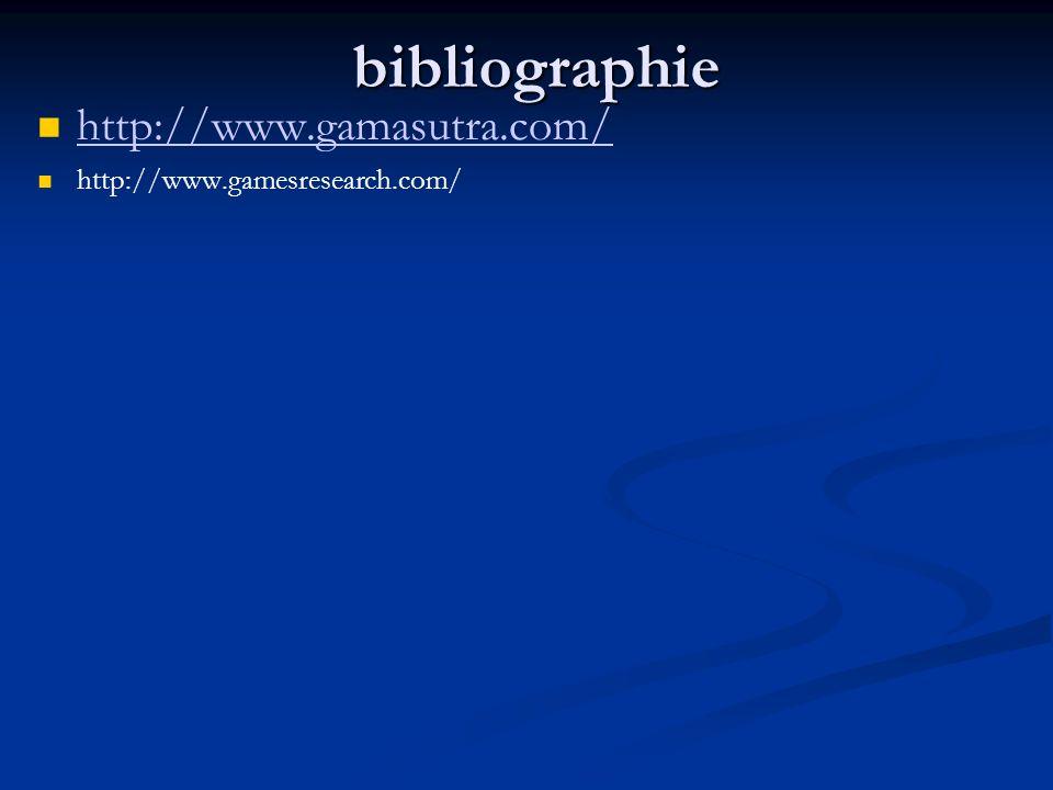 bibliographie http://www.gamasutra.com/ http://www.gamesresearch.com/