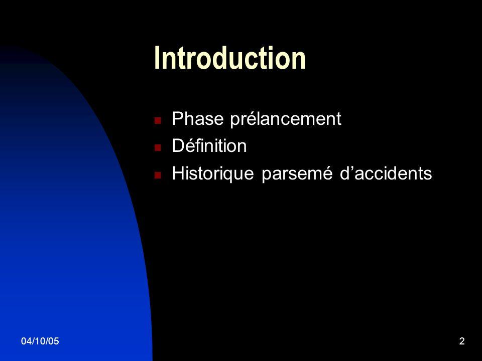 04/10/052 Introduction Phase prélancement Définition Historique parsemé daccidents