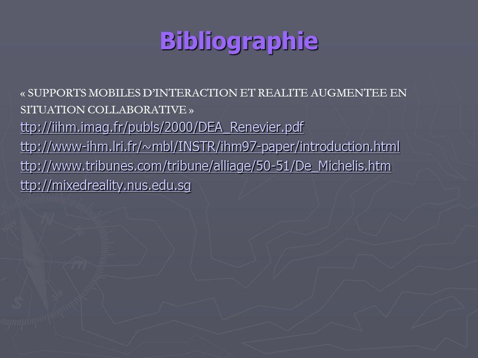 Bibliographie « SUPPORTS MOBILES DINTERACTION ET REALITE AUGMENTEE EN SITUATION COLLABORATIVE » ttp://iihm.imag.fr/publs/2000/DEA_Renevier.pdf ttp://w