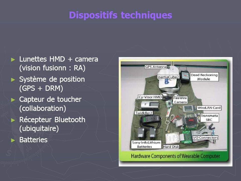 Dispositifs techniques Lunettes HMD + camera (vision fusionn : RA) Système de position (GPS + DRM) Capteur de toucher (collaboration) Récepteur Blueto