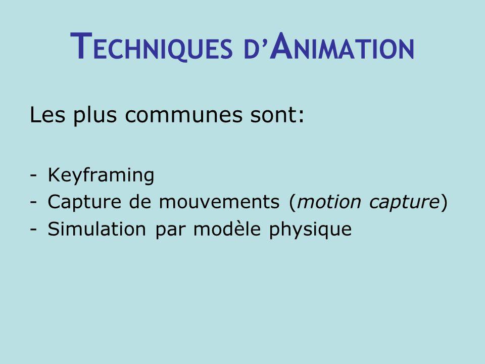 T ECHNIQUES D A NIMATION Les plus communes sont: -Keyframing -Capture de mouvements (motion capture) -Simulation par modèle physique